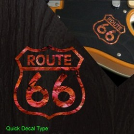 Petit sticker guitare route 66 rouge pearl