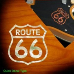 Petit sticker guitare route 66 blanc pearl