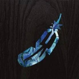 Petit sticker guitare petite plume bleu abalone