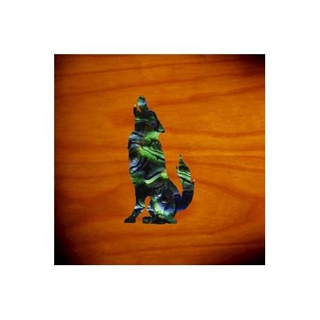 Petit sticker guitare loup vert abalone
