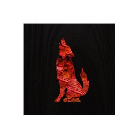 Petit sticker guitare loup rouge abalone