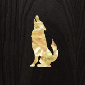 Petit sticker guitare loup blanc abalone