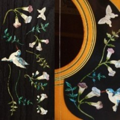 Grand sticker guitare assortiment Hummingbird bleu abalone
