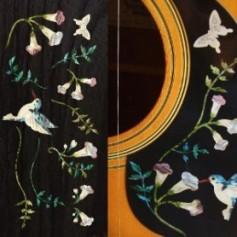 Grand sticker guitare assortiment Hummingbird bleu abalone