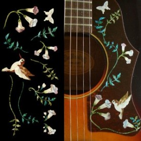 Grand sticker guitare assortiment Hummingbird bois