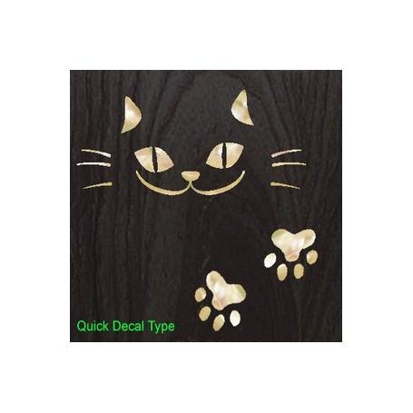 Grand sticker guitare chat blanc abalone