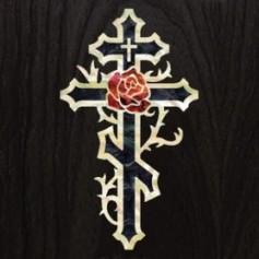 Grand sticker guitare croix & rose noir pearl