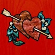 Grand sticker guitare double cœur
