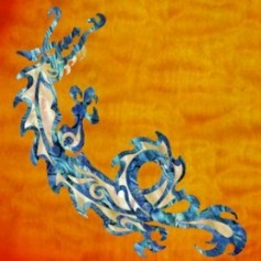 Grand sticker guitare dragon bleu abalone