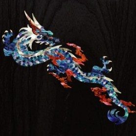 Grand sticker guitare dragon feu bleu abalone