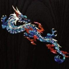 Grand sticker guitare dragon feu bleu abalone