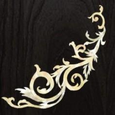 Grand sticker guitare decor gothique blanc abalone