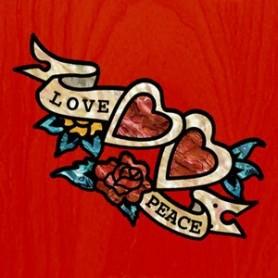 Grand sticker guitare coeur rose