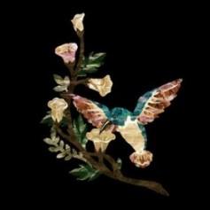 Grand sticker guitare oiseau & fleurs