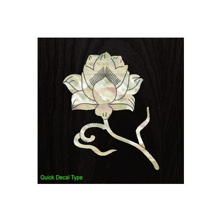 Grand sticker guitare lotus blanc abalone