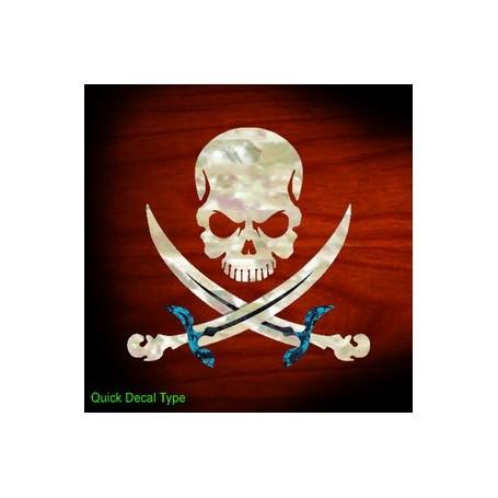 Grand sticker guitare pirate tête de mort blanc abalone