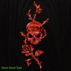Grand sticker guitare rose & tête de mort rouge abalone