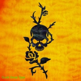 Grand sticker guitare rose & tête de mort noir pearl