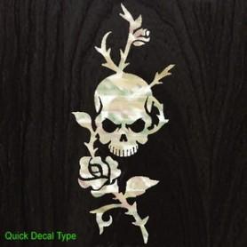 Grand sticker guitare rose & tête de mort blanc abalone