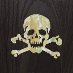 Grand sticker guitare tête de mort blanc abalone
