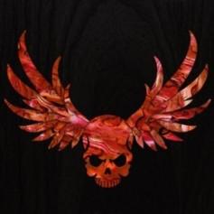 Grand sticker guitare tête de mort & ailes rouge abalone