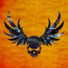 Grand sticker guitare tête de mort & ailes noir pearl