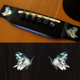 Sticker guitare chevalet papillon bleu abalone (2 pieces)