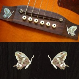 Sticker guitare chevalet papillon blanc abalone (2 pieces)