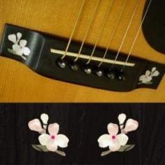 Sticker guitare chevalet fleur blanc abalone (2 pieces)