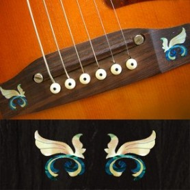 Sticker guitare chevalet petites ailes bleu abalone (2 pieces)