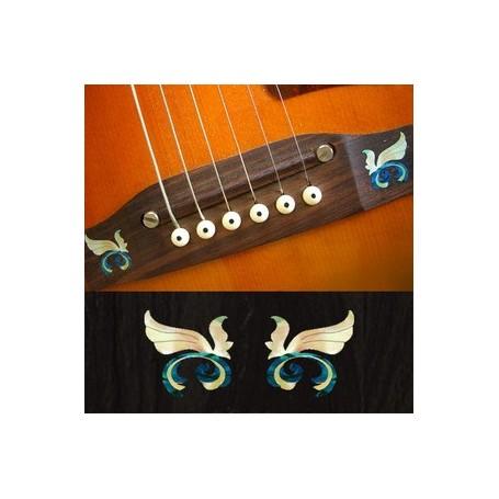 Sticker guitare chevalet petites ailes bleu abalone (2 pieces)
