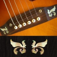 Sticker guitare chevalet petites ailes blanc abalone (2 pieces)