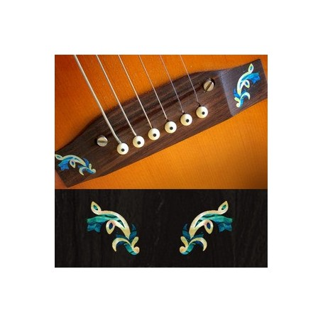 Sticker guitare chevalet traditionnel bleu abalone (2 pieces)