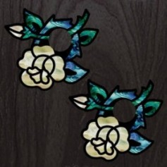 Sticker guitare chevalet rose blanc abalone (2 pieces)