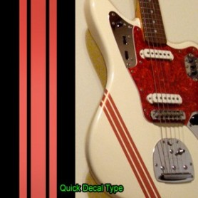 Sticker guitare ligne compétition champagne rouge