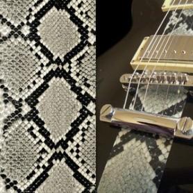 Sticker guitare texture serpent gris