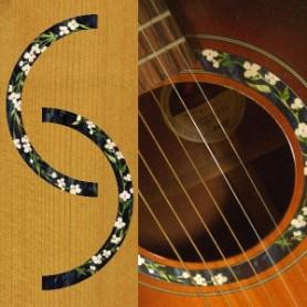 Sticker guitare rosace fleurs acoustique