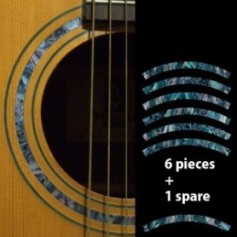 Sticker guitare rosace decoupe bleu abalone