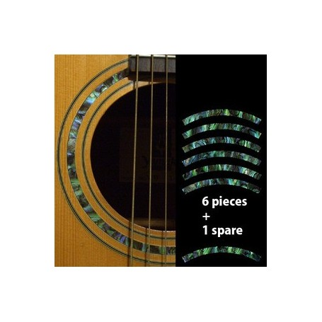 Sticker guitare rosace decoupe vert abalone