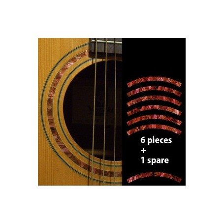 Sticker guitare rosace decoupe rouge abalone
