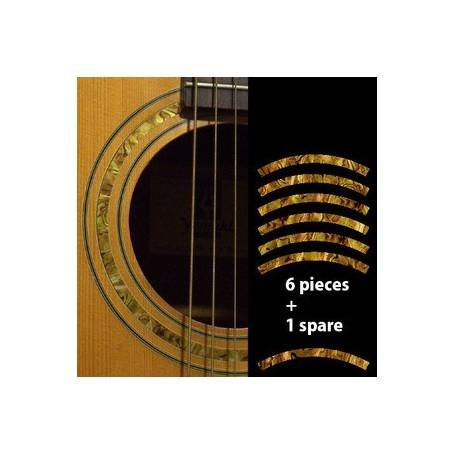 Sticker guitare rosace decoupe jaune abalone