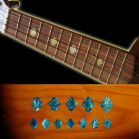 Sticker guitare ukulele diamants bleu abalone