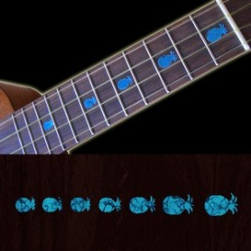 Sticker guitare ukulele ananas turquoise
