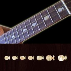 Sticker guitare ukulele ananas blanc abalone