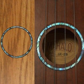 Sticker guitare ukulele rosace bleu abalone concert