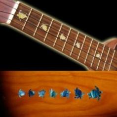 Sticker guitare ukulele tortue touche bleu abalone