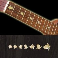 Sticker guitare ukulele tortue touche blanc abalone