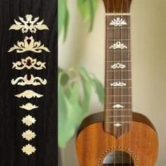 Sticker guitare ukulele touche deluxe blanc abalone