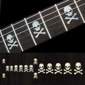 Sticker guitare touche tête de mort lateral blanc abalone