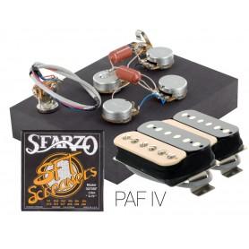 Pack kit éléctronique copie LesPaul 3 positions - Micros Gn'B PAF zébra - Cordes Sfarzo 10-46
